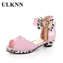 цена на ULKNN Kids Sandals For Girls Summer Shoes Bowtie Peep-toe Open toe Children Shoes Girls Princess Low Heel Party Dress sandalias