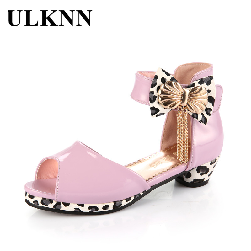 ULKNN Kids Sandals For Girls Summer Shoes Bowtie Peep-toe Open toe Children Shoes Girls Princess Low Heel Party Dress sandalias ...