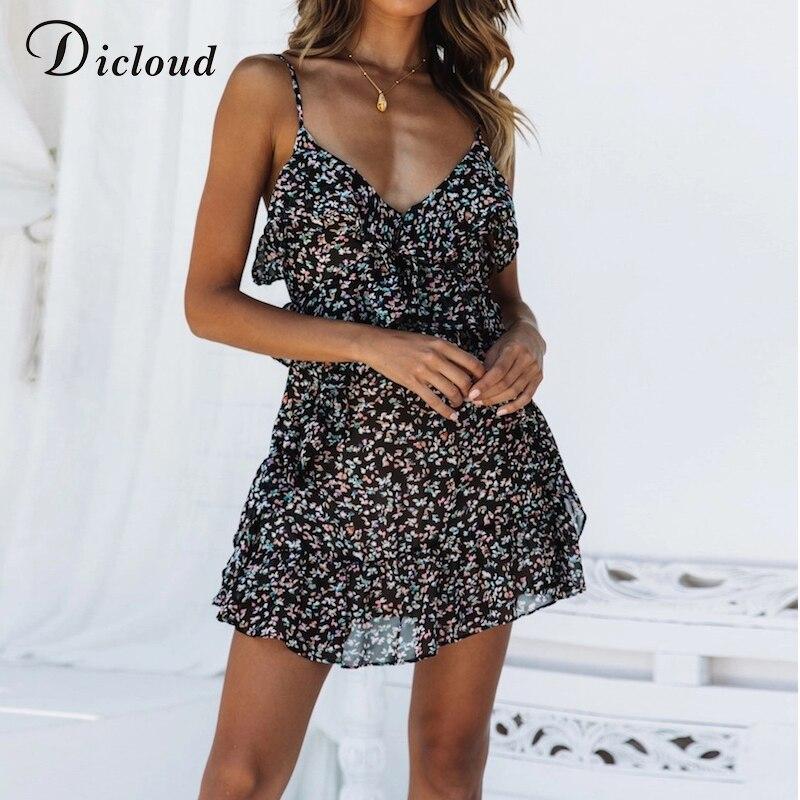 Dicloud бохо черный цветочный принт шифон мини летние платья женщин без рукавов сексуальная v шеи спагетти ремень пляжный сарафан