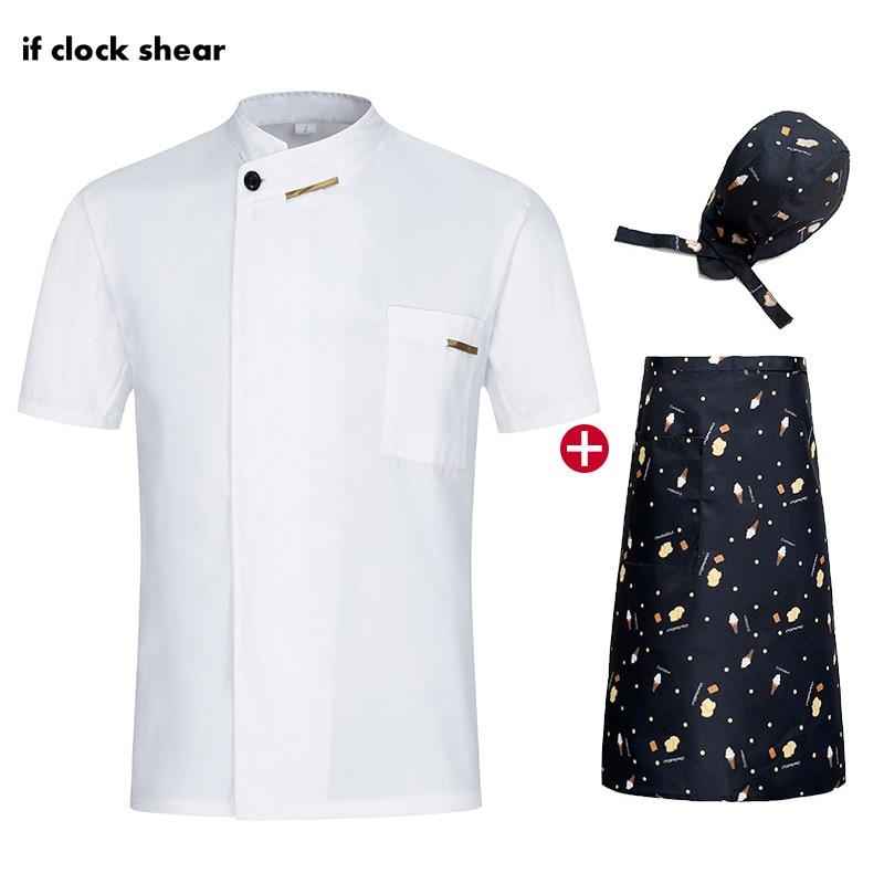 Catering Bakery Shirt Chef Restaurant Uniforms Summer Hotel Kitchen Jackets Hat Apron Sushi Uniform Work Clothes Men Wholesale