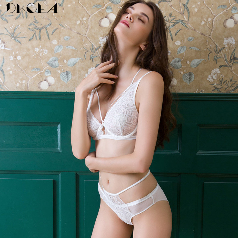 Faithful Sexy Bra Set Ultrathin Brassiere White Transparent Underwear Set Lace Bras Bandage 3/4 Cup Green Embroidery Lingerie Sets Women At All Costs Bra & Brief Sets
