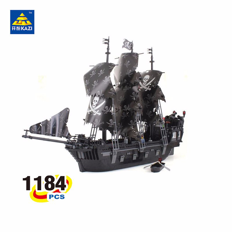 KAZI 1184 PCs Pirates of the Caribbean Black Pearl ship large model Christmas Gift Building Blocks toys Compatible With LEPIN 1513pcs pirates of the caribbean black pearl general dark ship 1313 model building blocks children boy toys compatible with lego