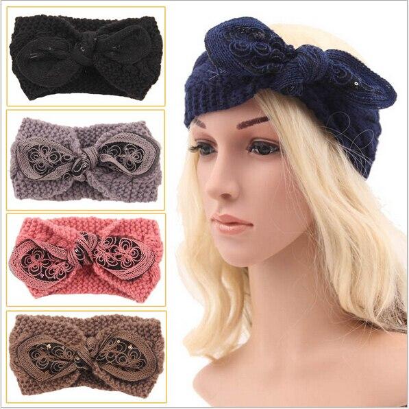 winter knit women adult rabbit ears crochet braided headband wool scrunchy  elastic headbands hair bands accessories for women b58b30c3d18