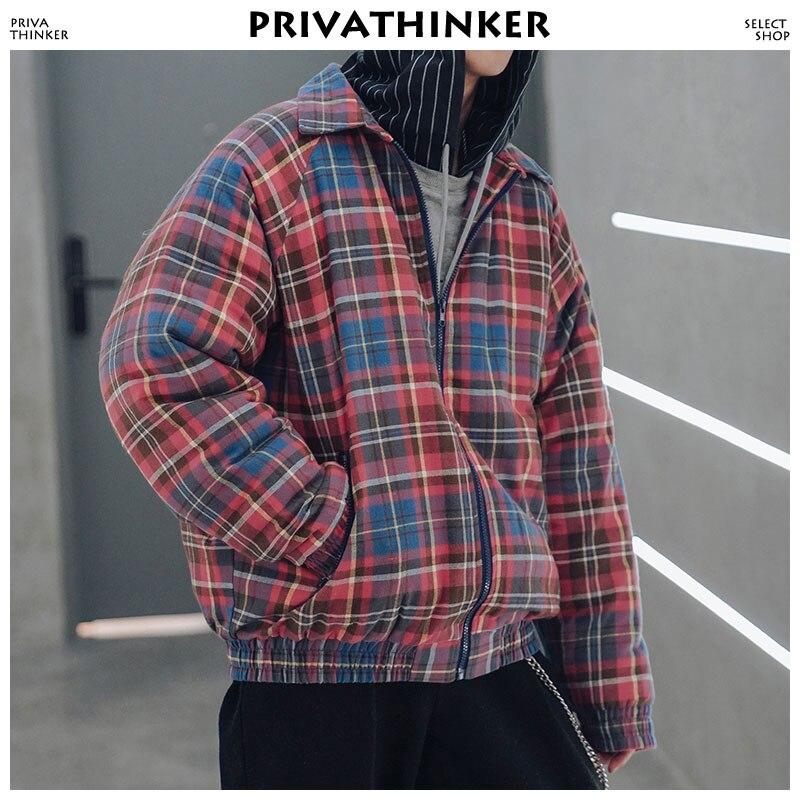 re Size Size Mâle Green 2018 asian Parka Hiphop Bomber Privathinker Streetwear À vent Manteaux Coupe Plaid Japonais Vestes D'hiver Capuche Hommes asian w1aUq8H