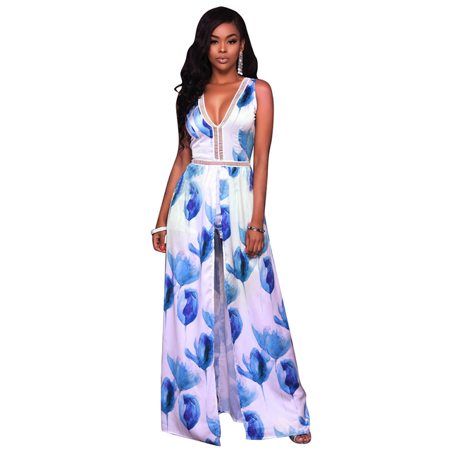 bfa49cfb4697 Sexy V Neck Playsuit With Long Skirt Casual Floral Print Backless Hollow  Out Jumpsuit Women Sleeveless