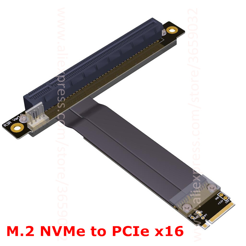 M.2 NGFF NVMe Key M extender cable to PCIE x16 graphics Card Riser adapter 16x PCI-e PCI-Express for M2 2230 2242 2260 2280 ft 31 sensor mr li