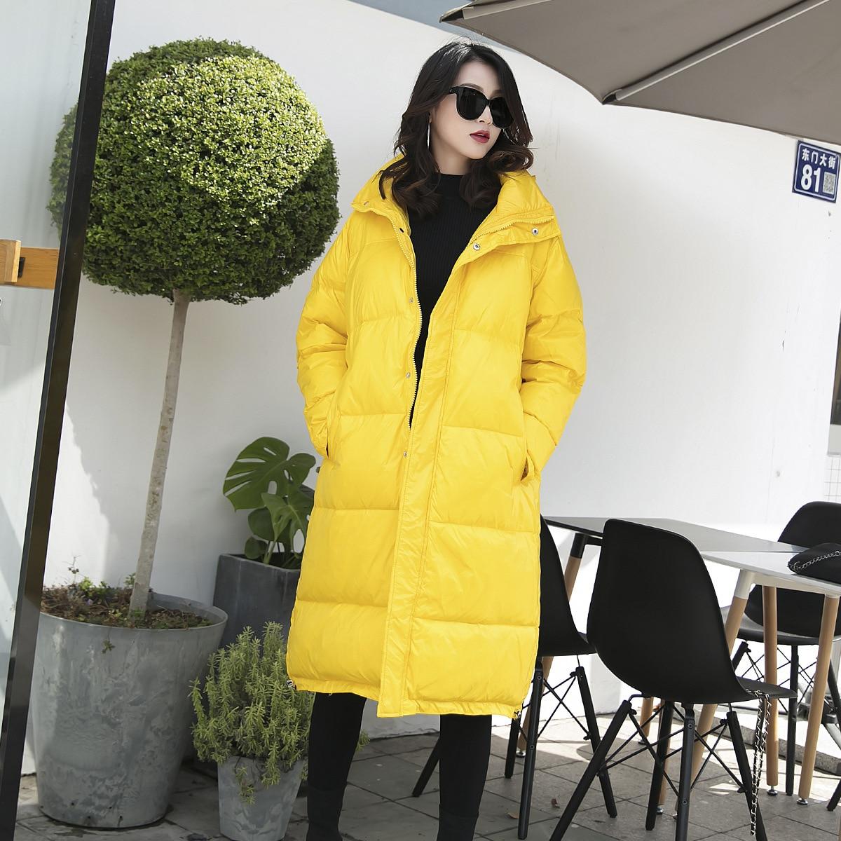 taille Bas Mince 100 Plus Veste Vêtements Vers Kg 90130 Style 2018 jaune Étendu Noir Nouvelle Graisse De pourpre coréen Robe Femmes Défilé D'hiver Sœur Le Mode XRaEwx