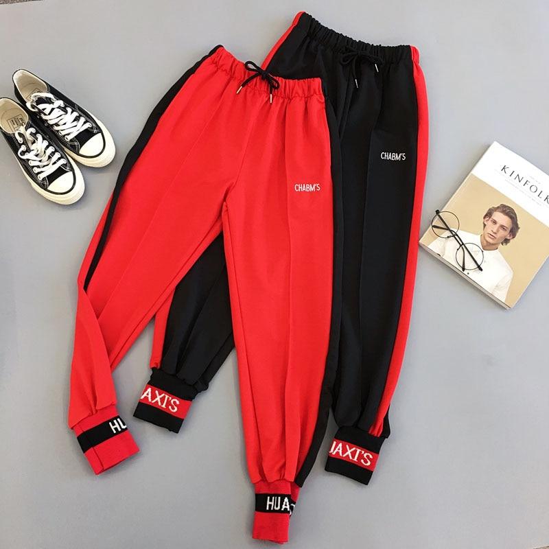 Spring Sport Cargo Pants Plus Size Letter Embroidery Pants Women High Waist Streetwear Cool Girl Harajuku Hip Hop Pants 2