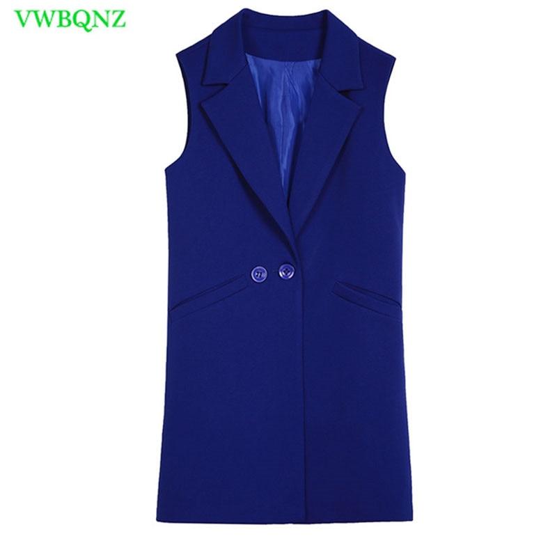 Image 5 - Spring Autumn Wild Female Vest Women Korean Long Slim Thin Sleeveless Suit Vests Women's Shoulder Plus size Jacket Coat 3XL A658-in Tank Tops from Women's Clothing