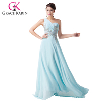Một Vai Elegant Dài Light Blue Prom Dresses Grace Karin Khiêu Vũ Formal Gown Dịp Đặc Biệt Dress Voan GK4506