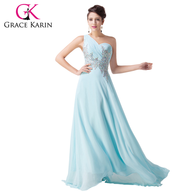 One Shoulder Elegant Long Light Blue Prom Dresses Grace Karin Dance ...