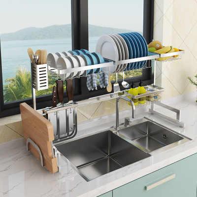 304 Roestvrij stell keuken rek gootsteen afvoer rack afdruiprek keuken opbergrek