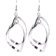 Twist Wave Design Drop Dangle Earrings Sparkling Ear Stud Double Linear Loops цена 2017