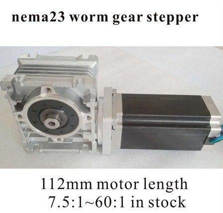 2pcs/lotNEMA 23 Worm Reducer Stepper Motor 7.5:1~60:1 Motor Length 112mm 3N.m (417oz-in) Nema 23 Worm Gear Stepper Motor CE ROHS