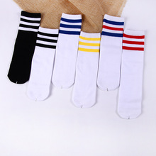 Kids Knee High Socks For Girls Boys Football Stripes Cotton Sports Old School White Skate Children Baby Long Tube Leg Warm