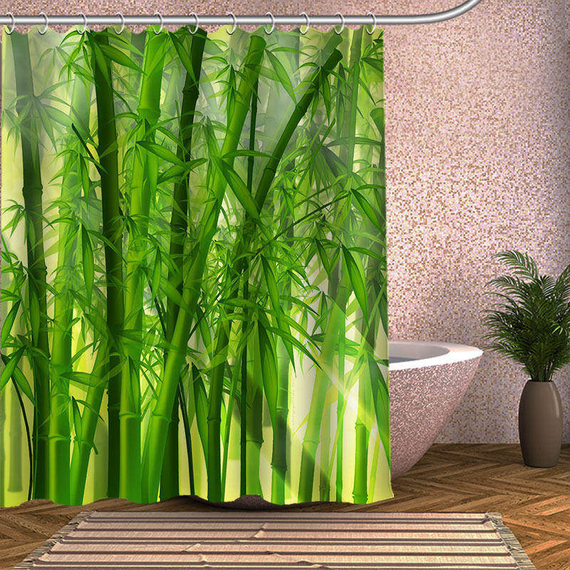Customize your picture Shower Curtain Eco-friendly Bamboo Polyester Bath Screens Decor Shower Curtains
