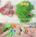 0-6 meses nuevo crochet newborn fotografía atrezzo trajes de ganchillo bebé determinado del bebé de hula girl tocado coconut bra hierba sistemas de la falda