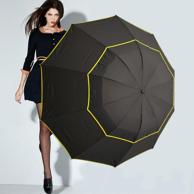 Super sombrilla <font><b>Big</b></font> 130CM <font><b>Golf</b></font> <font><b>Umbrella</b></font> Windproof Large Paraguas Male Women Sun Rain 3 Floding Outdoor <font><b>Umbrellas</b></font> Parapluie image