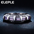 wholesale silver plated ring Purple Amethyst big rhinestone CZ Diamond wedding Bague  rings jewelry LSR244
