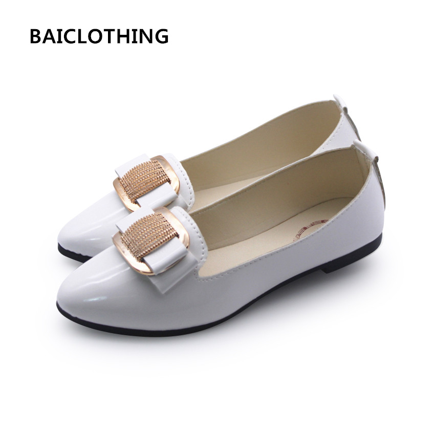 BAICLOTHING women casual pointed toe flat shoes lady cool spring pu leather flats female white office shoes sapatos femininos pu pointed toe flats with eyelet strap