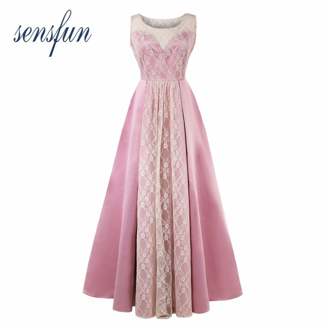 6d66449e5fe2 Sensfun 2018 Pink Women Dresses Cotton Hepburn Robe 1950 60s Vintage Dress  Satin Lace Long Dresses Vestidos Retra Party Dresses