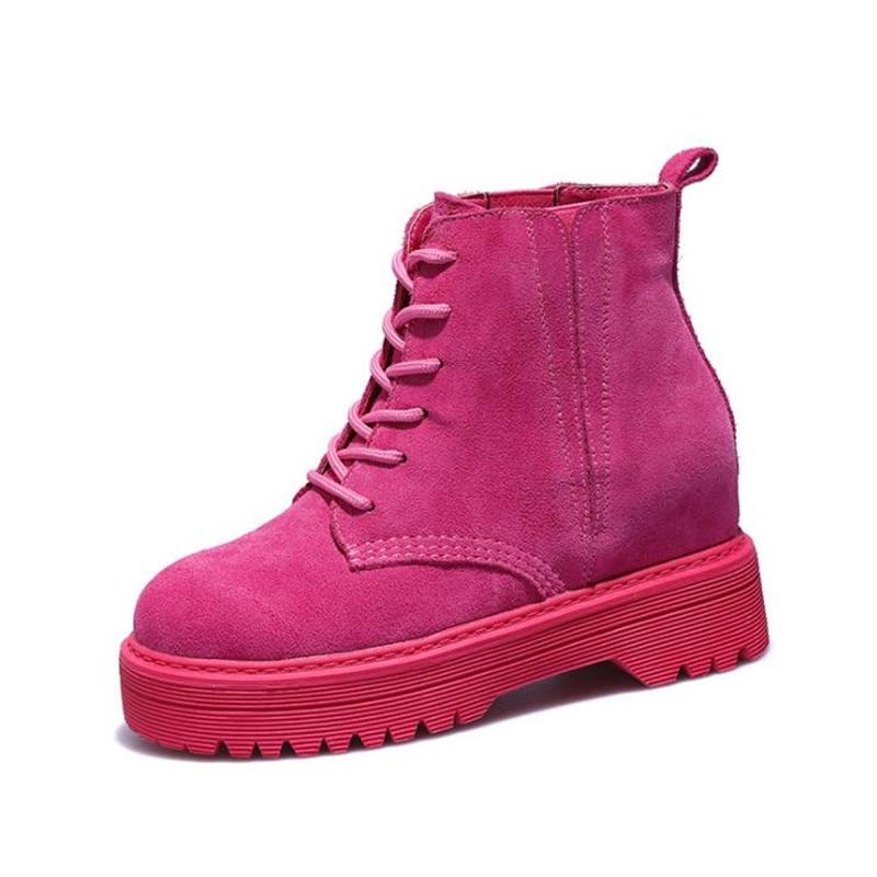 De Genuino Piel Mujeres Botas pink Motocicleta La Nieve Zapatos Damet Top Cuero Del Black Las Tobillo Chica Invierno brown Plataforma StnWp5Ywq