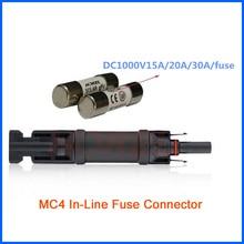 Цельный MC4 предохранитель держатель панели солнечных батарей 15A/20A/30A доступны Максимальное рабочее напряжение DC1000V