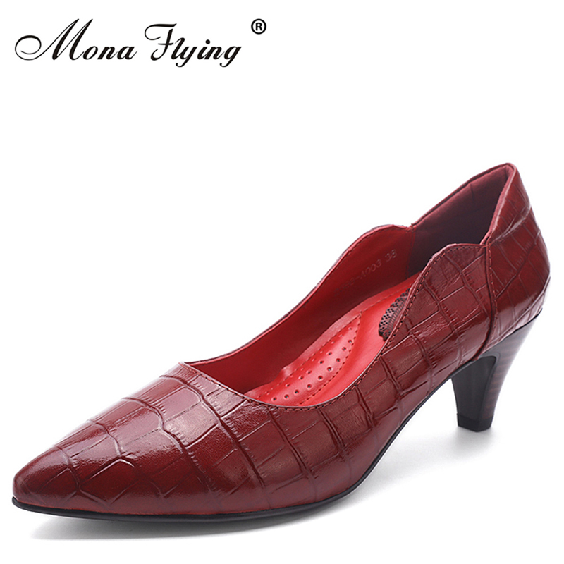 Women Shoes Genuine Leather Pointed Toe High Heels Women Pumps Shoes 2017 Brand New Fashion Sexy Red Women Office Shoes 2588-A01