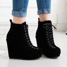 Wedges Boots Platform Lace-Up Round-Toe Autumn Plus-Size Winter Women Ankle Sexy Stylish