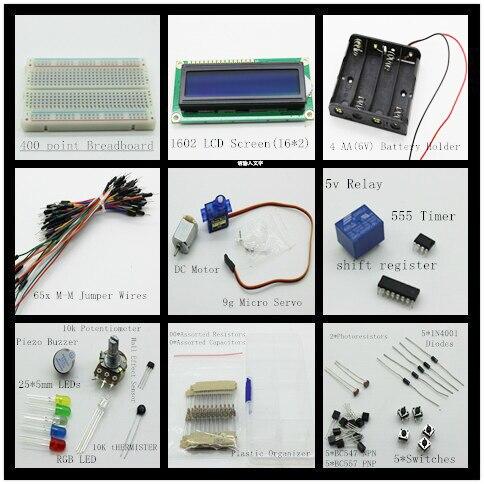 Starter Kit для arduino Макет и DC Motor/Серво/1602 LCD/перемычку/Резисторы/конденсаторы