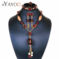 AYAYOO Bridal Jewelry Sets Dubai Gold Color African Beads Jewelry Set For Women Wedding Necklace Fashion Jewellery