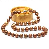 free shipping Round 9 10mm south sea chocolate pearl princess necklace 18