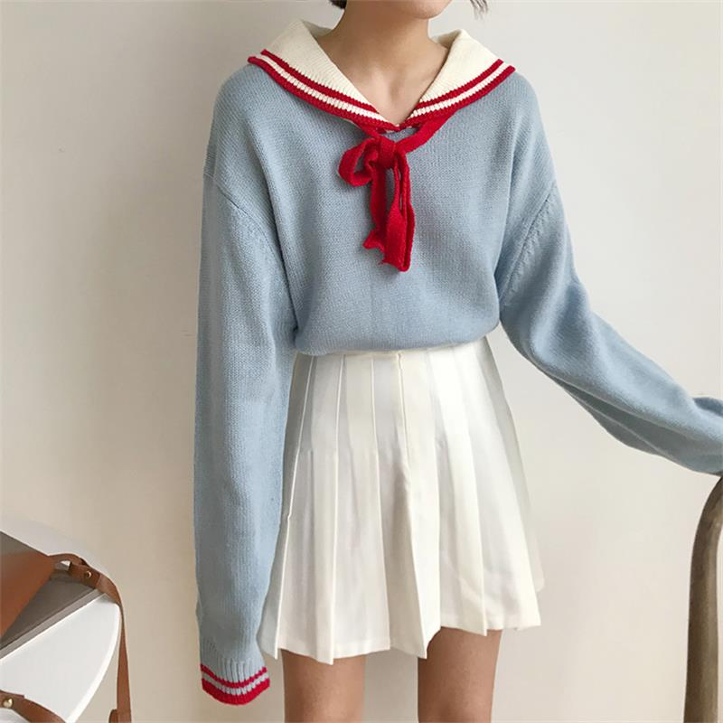 Women's Sweaters Japanese Kawaii Ulzzang Vintage Sweet College Wind With Sweater Female Korean Harajuku Clothing For Women