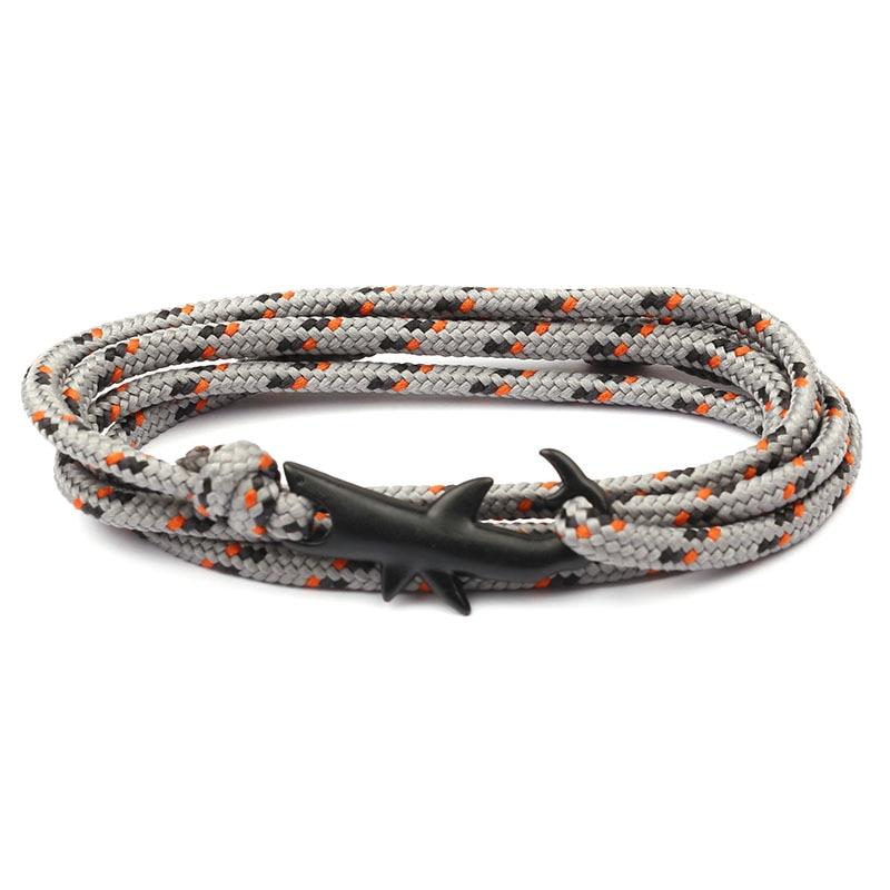 18 Colors Optional Hot Selling Viking Bracelets For Men And Women Silver Shark Multilayer Rope Bracelet Homme Femme Men Jewelry 4