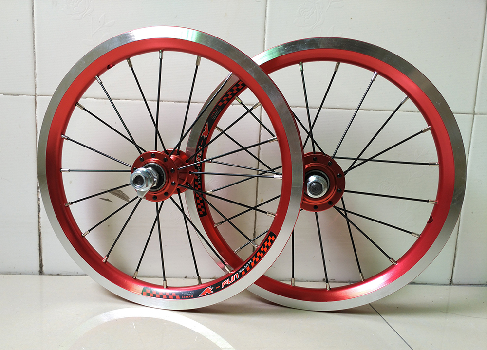 high quality 4 sealed bearing 14 inch 20 hole folding bike kid bike DH single speed 9T bicycle wheelset rockbros titanium ti pedal spindle axle quick release for brompton folding bike bicycle bike parts