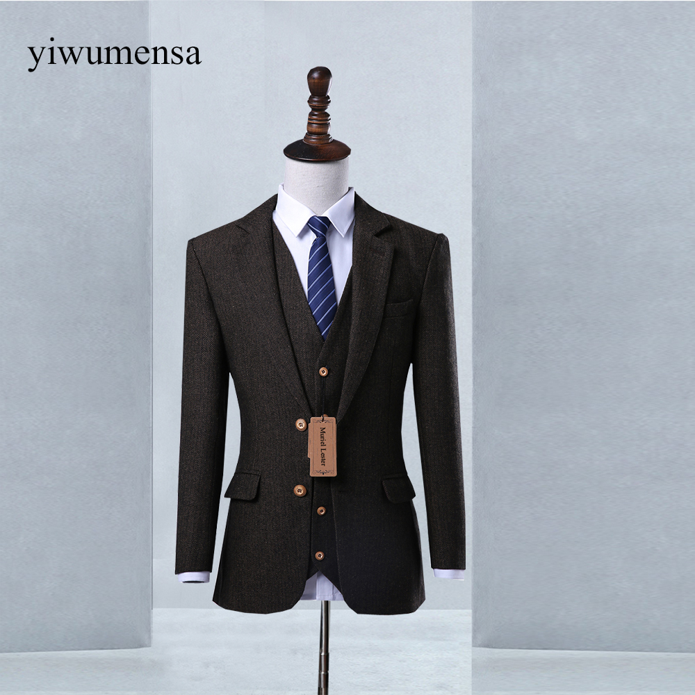 wuzhiyi Wool Brown Tweed Custom Made Men Prom Suit Blazers Retro ...