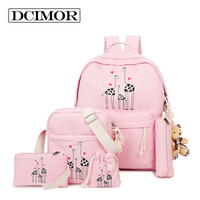DCIMOR Summer Women Canvas Backpack Printing Students Bookbag Female School Bag Set For Youth Girls With