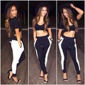 2015 New Fashion Women Summer Spring 2pieces Patchwork Jumpsuit Sexy Women Club Bandage Rompers Bodysuit catsuit Hollow out Back