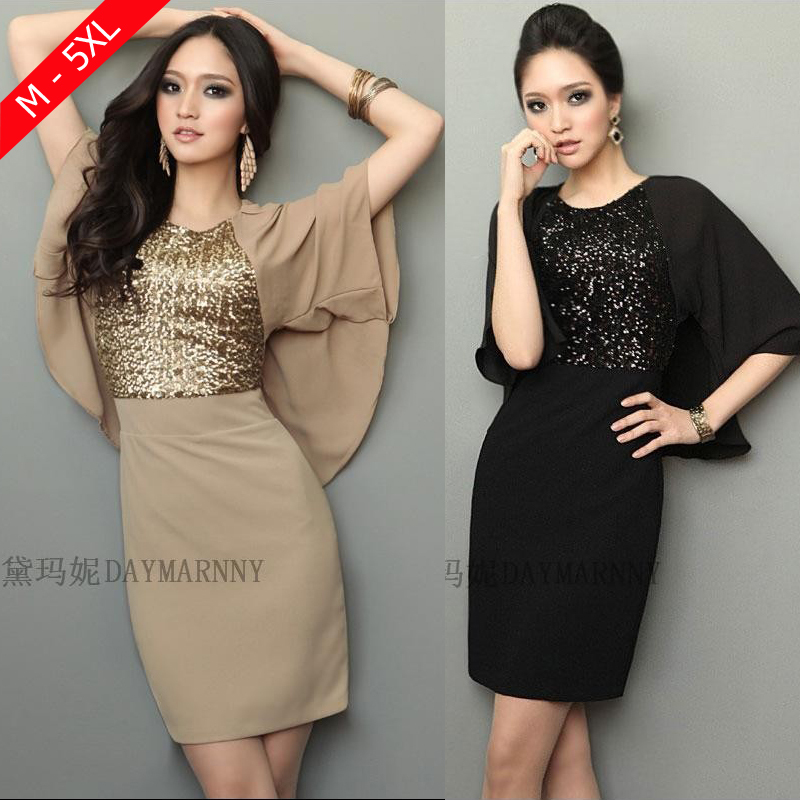 2016 Fashion Elegant Women Sequined Flare Sleeve Batwing Sleeve Chiffon Dress Black/ Khaki Plus Size M-XXXL 4XL 5XL Vestido