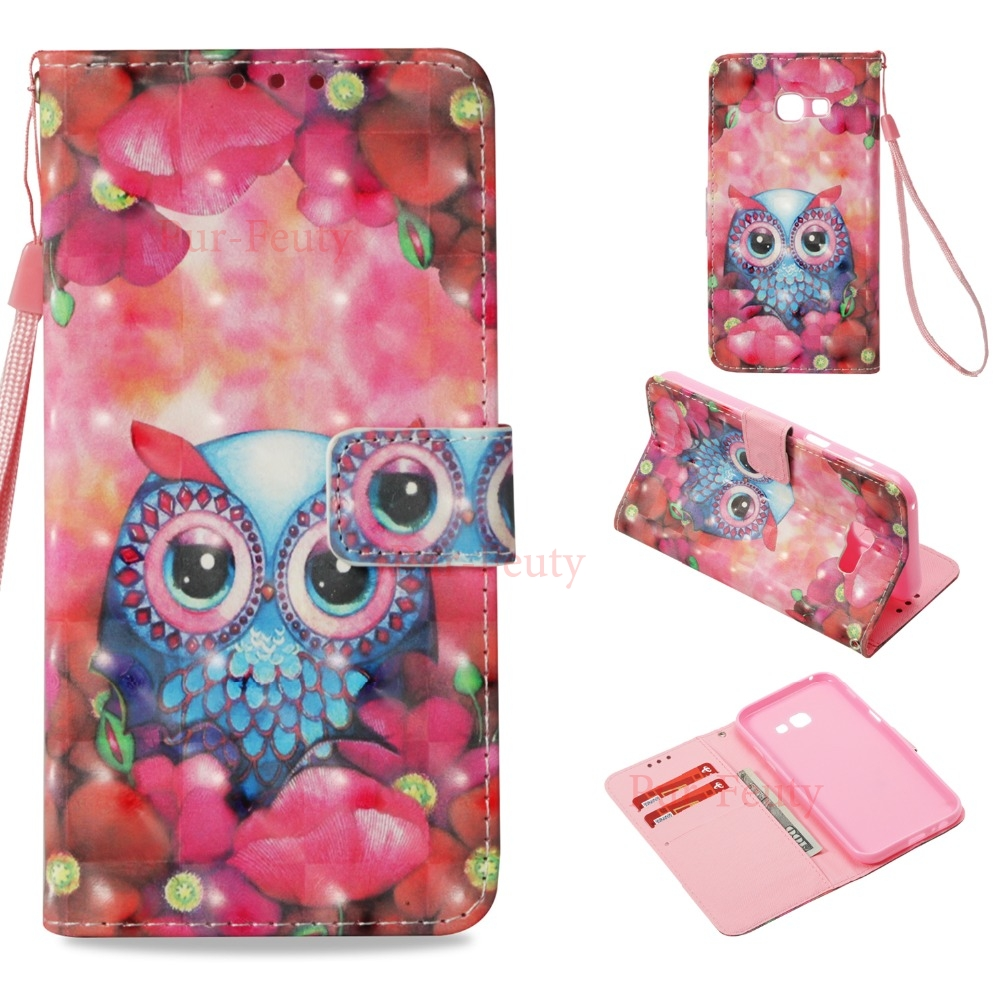 Case For Samsung Galaxy A5 2017 520 A520F/DS Glitter Girl Owl Flip Wallet ID Card Holder Stand for Galaxy A8 2018 SM-A530N A530N