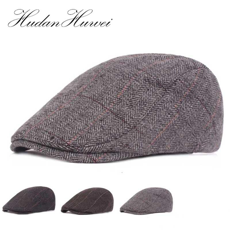 Otoño e Invierno de lana de los hombres vendedor de periódicos sombrero  plano Ivy Gatsby caliente e0ac991c291
