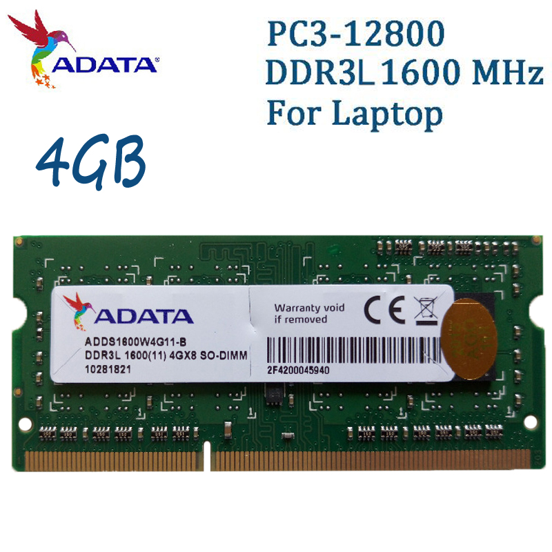 ADATA Laptop Memory DDR3L 1600MHz PC3-12800 4GB 8GB Notebook Ram Compatible With DDR3 1333MHz 4G For Lenovo SAMSUNG Dell HP SONY все цены