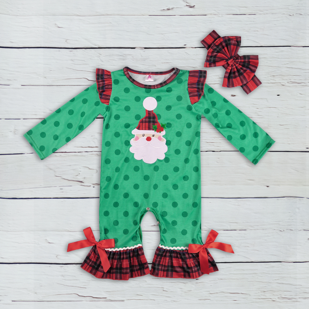 все цены на New Fashion Baby Christmas Green Polka Dot Girl Knitted Cotton Winter Jumpsuit Romper Newborn Boutique Clothing GPF808-237