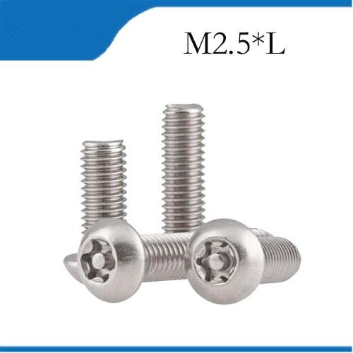 50PCS M2.5 Stainless steel pan head with column screws Plum Socket mechanical bolts Torx Semi-round head TX niko 50pcs chrome single coil pickup screws