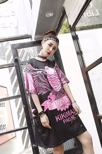 Women Street Wear Cartoon Eagle Print T-Shirt Dress Novelty Metal Color  Patchwork Sleeve Summer Dress Plus Size Loose Long Tops e862a44160a9
