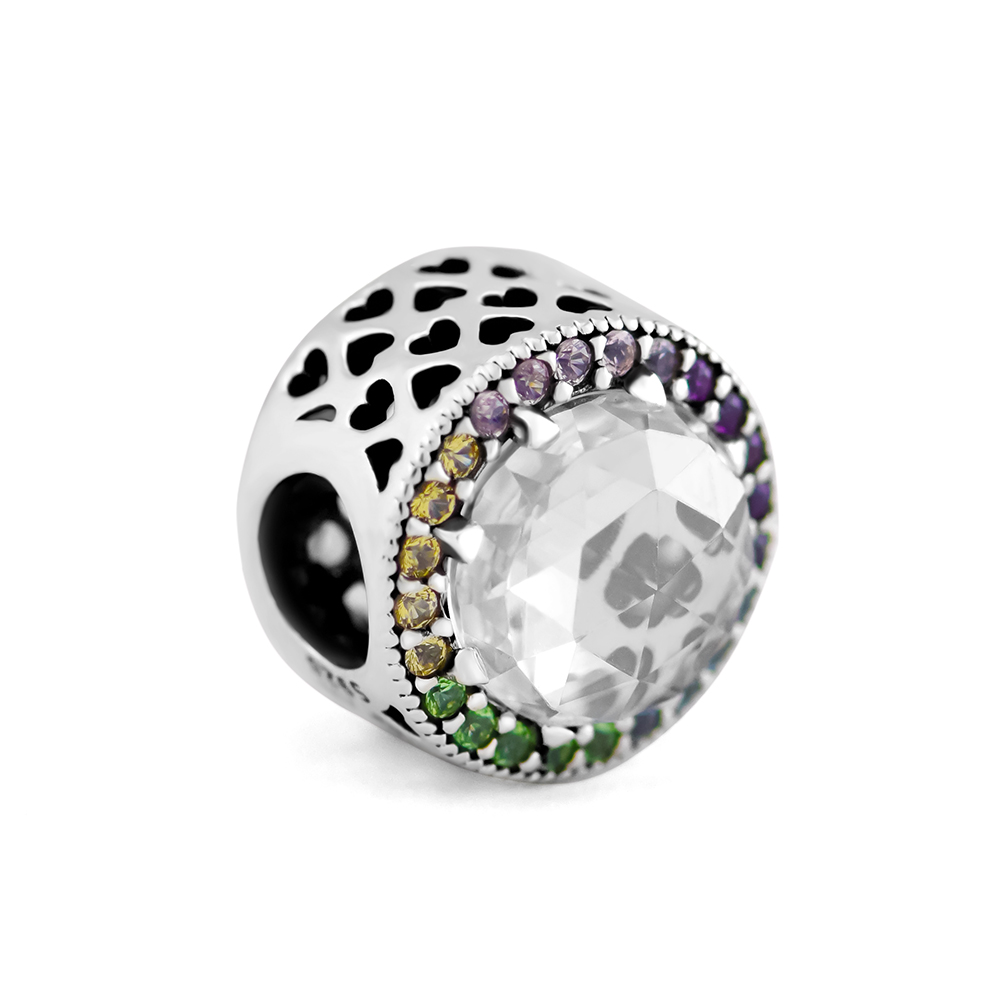 Pandulaso Rainbow Radiant Hearts Charm 925 Sterling Silver Jewelry Fit European DIY Bracelets For Woman Beads For Jewelry Making