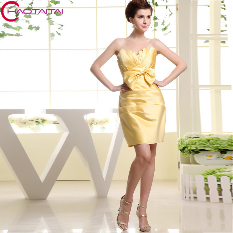 2017 Custom Yellow Satin Bow Above Knee Mini Short Cocktail Dresses Sleeveless Party Gown
