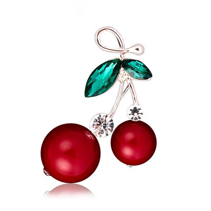 אדום דובדבן ריינסטון סיכת טבעי אבן חרוזים פירות תכשיטי סיכת לנשים ילדים שמלת חולצה קישוט חיג 'אב סיכות