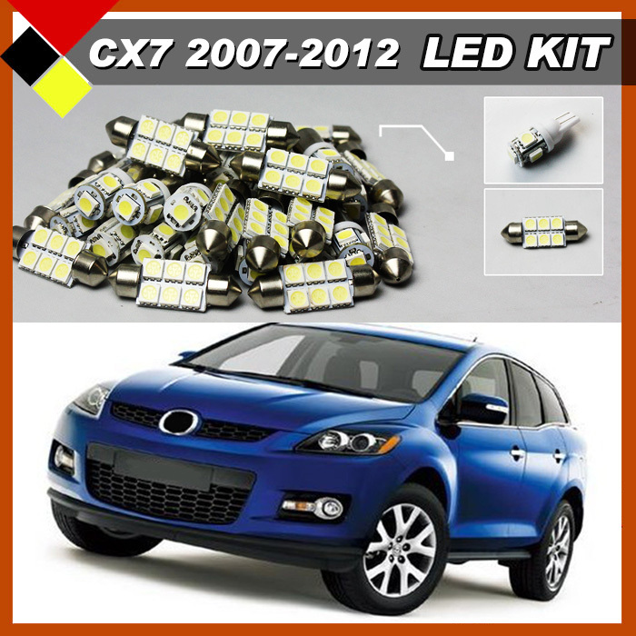 Car Interior Cargo Auto Area License Plate Dome Map Lights LED Kit Package White Bulbs 12V Suit 2007-2012 CX-7 мозаика atlas concorde россия s m woodstone champagne mosaic 30 5x30 5