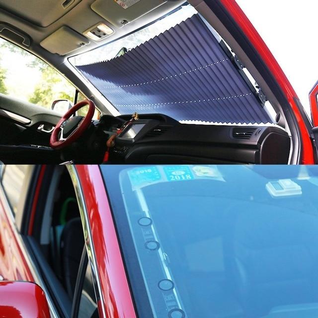 Retractable Car Windshield Sunshade Sun Insulation Curtain UV Protection Sun Shade Cover Adjustable Insulation Shade